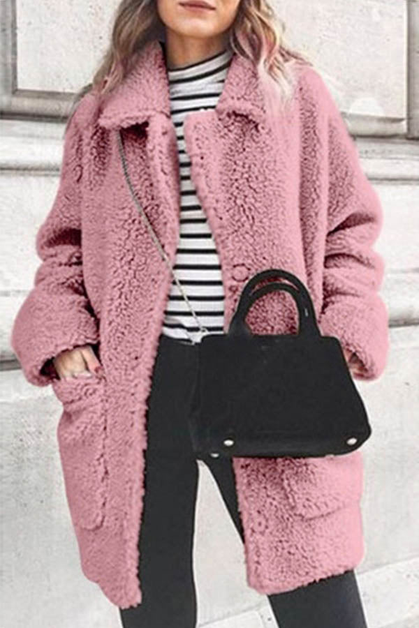 Fuzzy Solid Lapel Collar Paneled Pockets Buttons Down Women Trendy Coat
