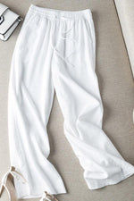 Linen Casual Solid Self-tie Pants