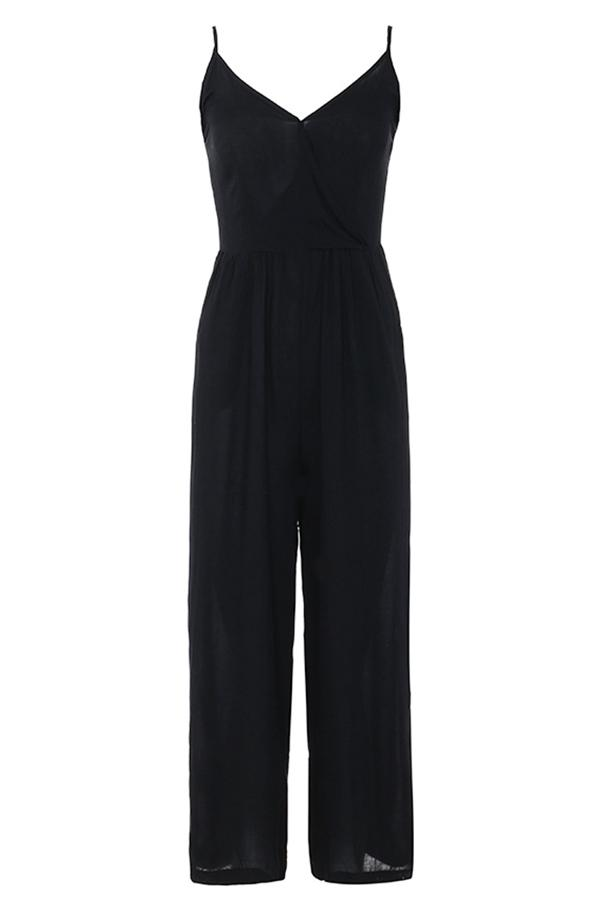 Solid Pockets Casual Sling Wide Leg Jumpsuit
