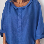 Cotton V-neck Long Sleeves Blouse