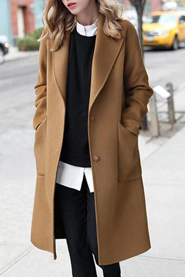 Lapel Solid Long Sleeves Pockets Coat