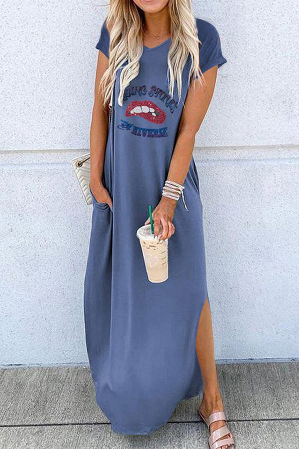 Casual Print Split Short Sleeves Maxi Dress