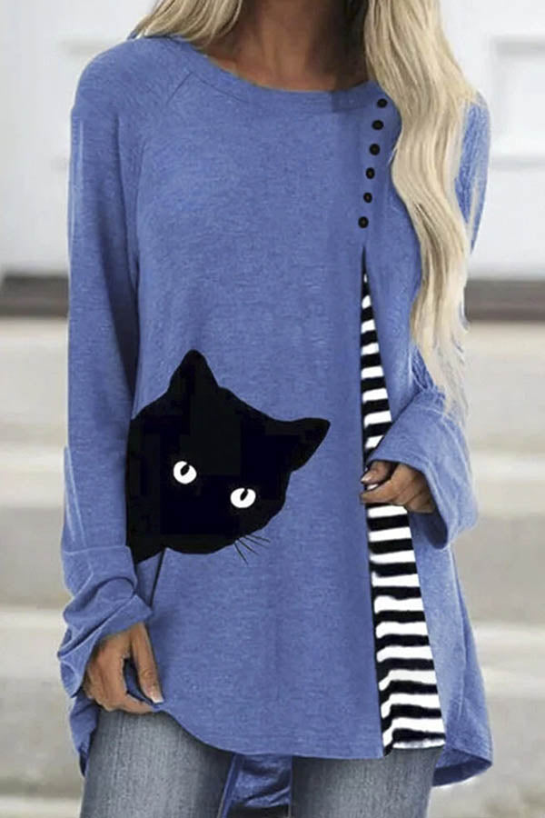Literary Black Cat Striped Print Raglan Sleeves Buttoned Color Block Shift T-shirt
