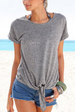Paneled Solid Knot Front Casual T-shirt