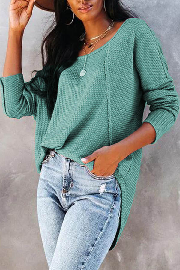 Street Waffle Embossed Pleated Curved Hem Buttoned Women Blouse