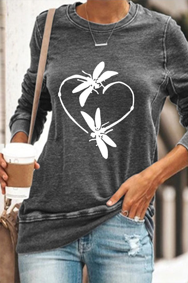 Two Dragonfly Made A Heart Print Casual Women T-shirt