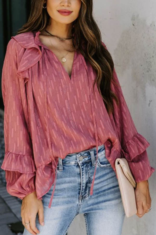 Sweety Striped Embossed Frill Trim V-neck See-through Look Blouse