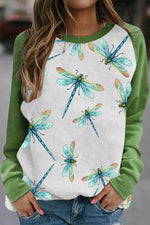 Tie Dye Blue Dragonfly With Insect Print Raglan Sleeves Color-block Lively T-shirt