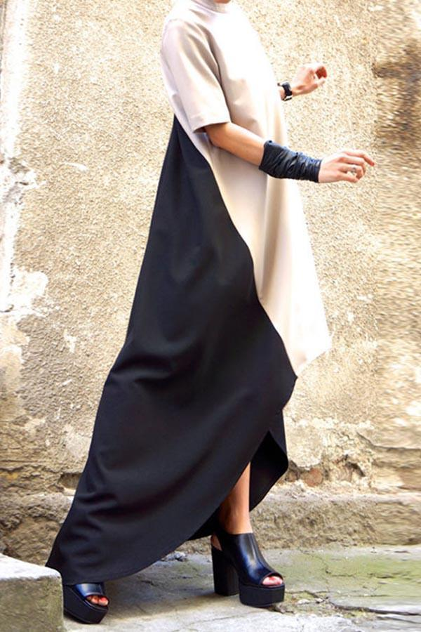 Color-block High Low Paneled A-line Maxi Dress