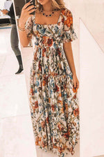 Bohemian Floral Print Pleated Elastic Waist Frill Sleeves Square Neck Maxi Dress