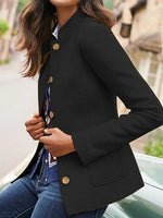 Casual Solid Button Lapel Collar Coat