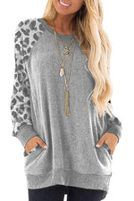 Leopard Printed Long Sleeve Pockets Sweatshirt