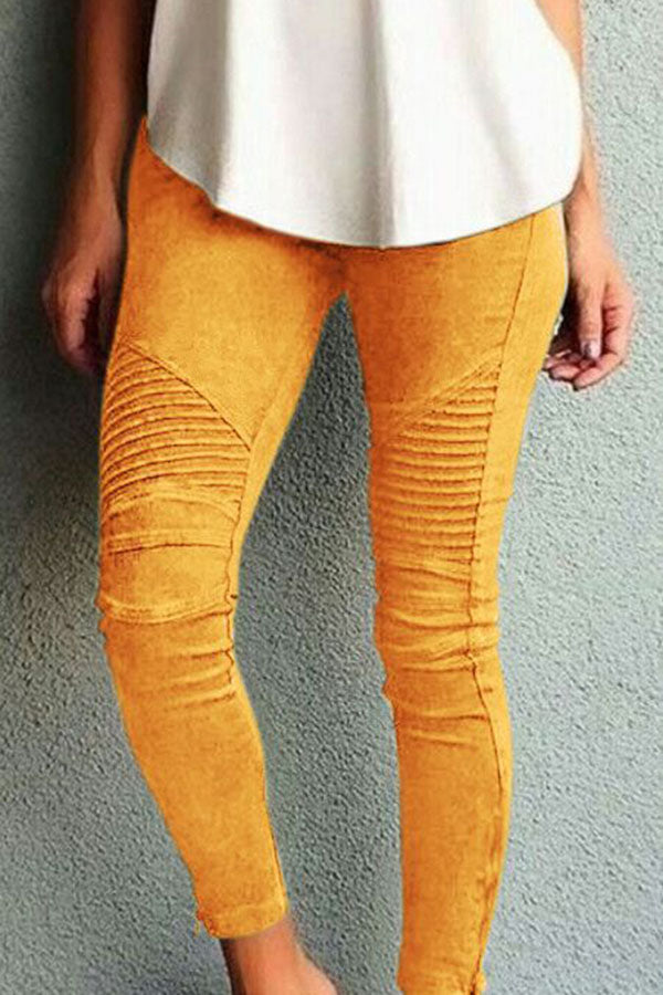 Casual Solid Tight High Waist Pants