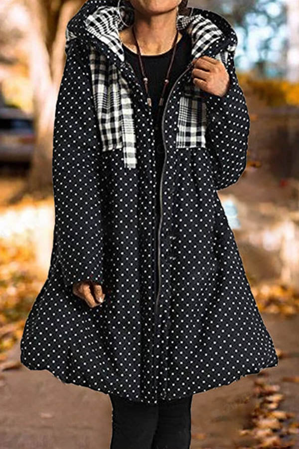 Sweety Plaid Paneled Polka Dots Jacquard Zipper Front Hooded Coat