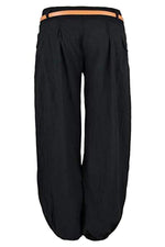 Solid Mid-waist Pockets Pants with Belt