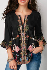 Paneled Floral Print Frill Sleeves Pleated Blouses