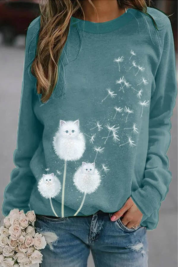 Lovely White Little Cat Dandelion Print Sweety Women T-shirt