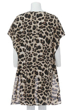 High Low V-neck Leopard Print Blouses