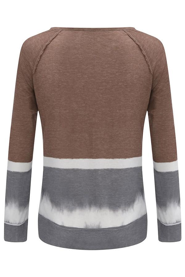 Crew Neck Loose Long Sleeves Gradient T-shirts