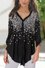 Polka Dots Print Paneled Irregular Buttoned Blouse