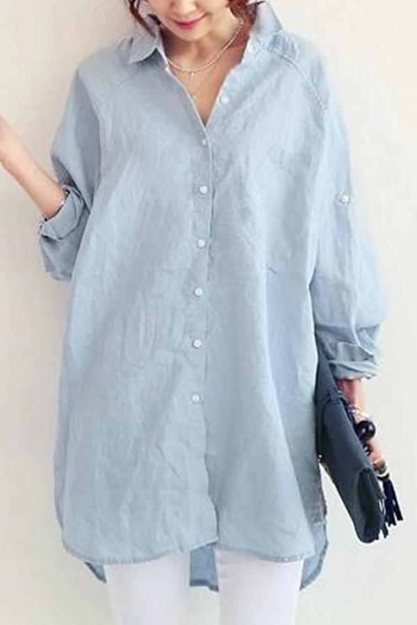 Casual Solid Shirt Collar Button Slit Blouses