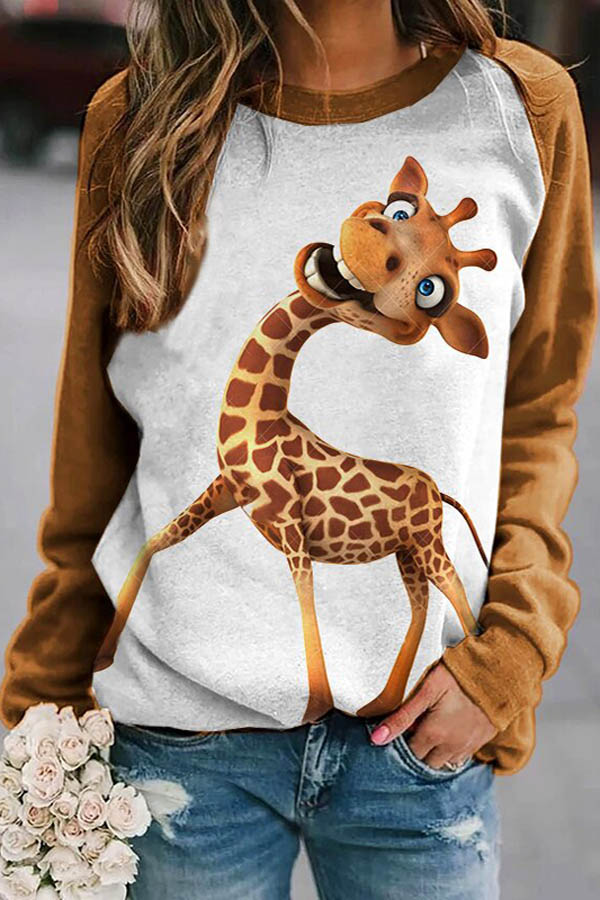 Laughing Giraffe Cartoon Print Coffee Raglan Sleeves Color-block Sweatshirt