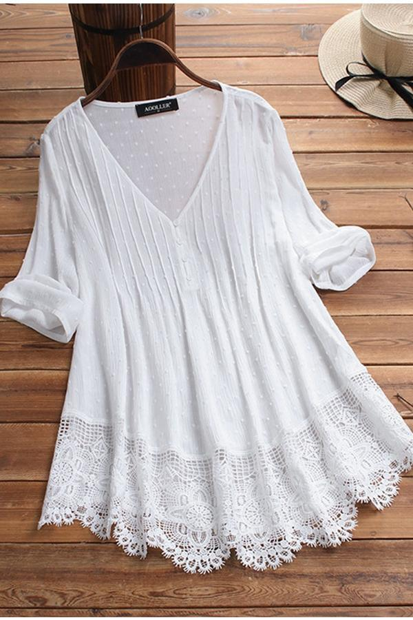 Ruffled Lace Hem Linen Blouse