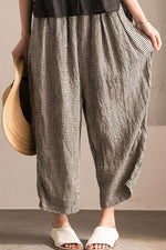 Casual Plaid Wide Leg Cotton Pants