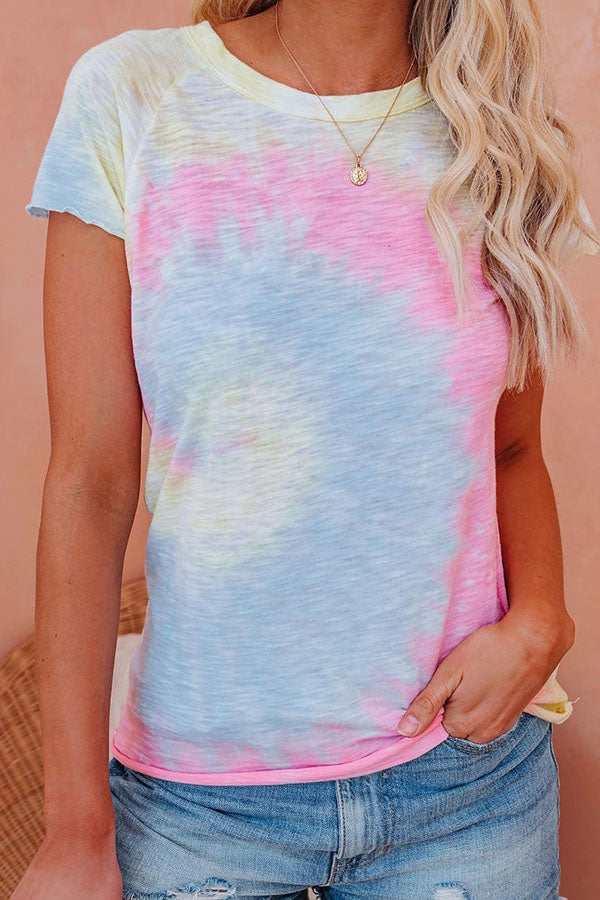 Gradient Print Paneled Short Sleeves Casual T-shirt