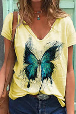 Paneled V-neck Butterfly Print Short Sleeves Casual T-shirt