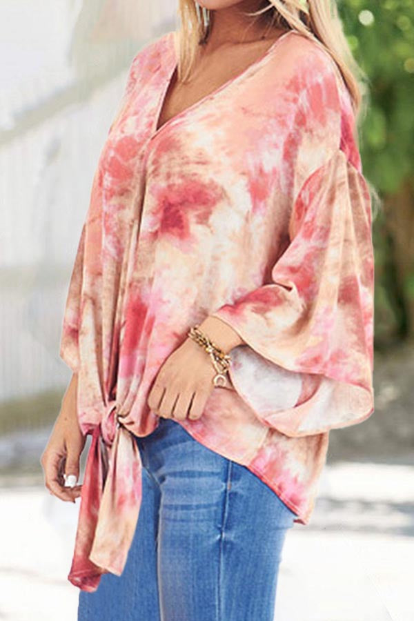 Gradient Print Knot Front V-neck Holiday Batwing Blouse