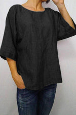 Round Neck 3/4 Length Sleeves Solid T Shirt