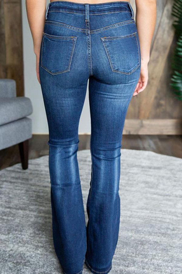 Solid Paneled Pockets Bell-bottomed Casual Jeans