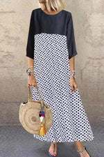 Paneled Polka Dots Print 3/4 Sleeves Maxi Dress