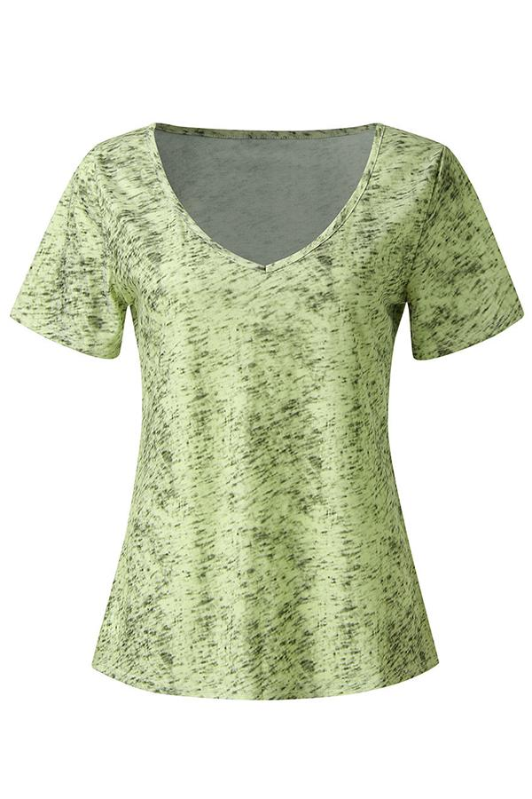 V-neck Paneled Gradient Print Short Sleeves Casual T-shirt