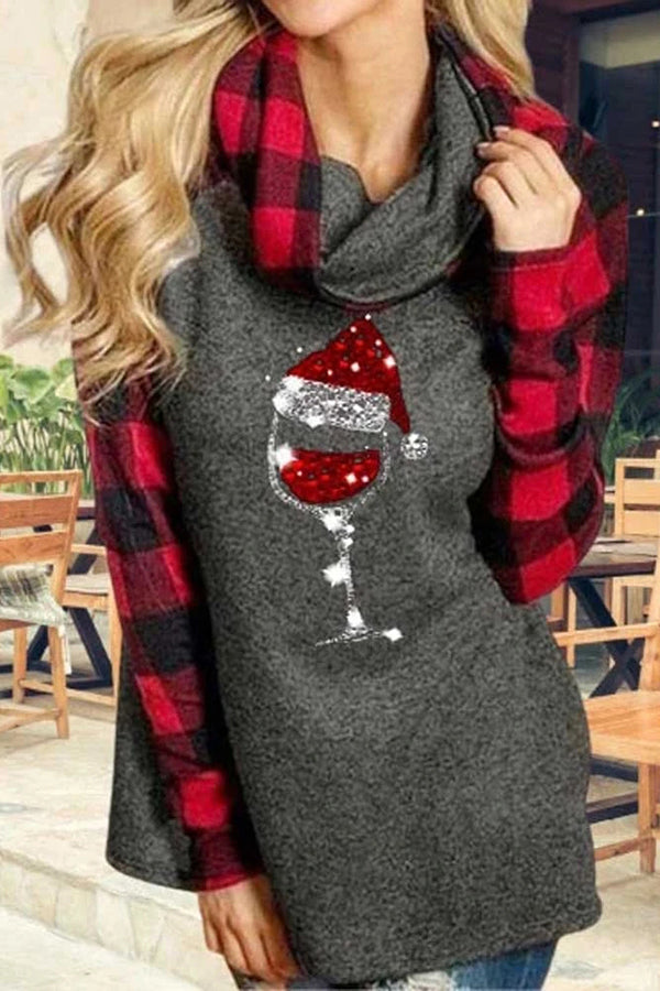 Plaid Red Wine Glass With Christmas Hat Print Pile Neck Color-block Blouse