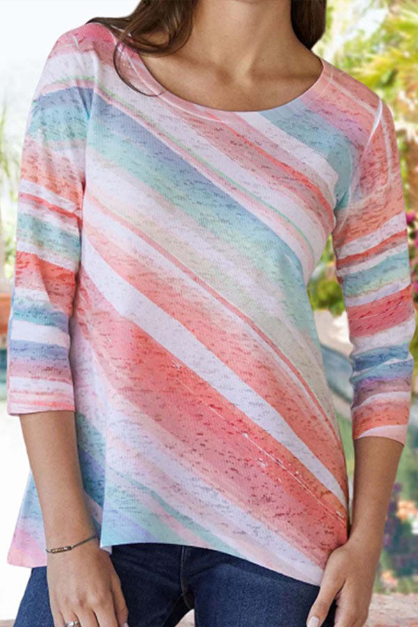 Casual Print Round Neck 3/4 Sleeves T Shirt