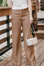 High Waist Button Design Linen Pants