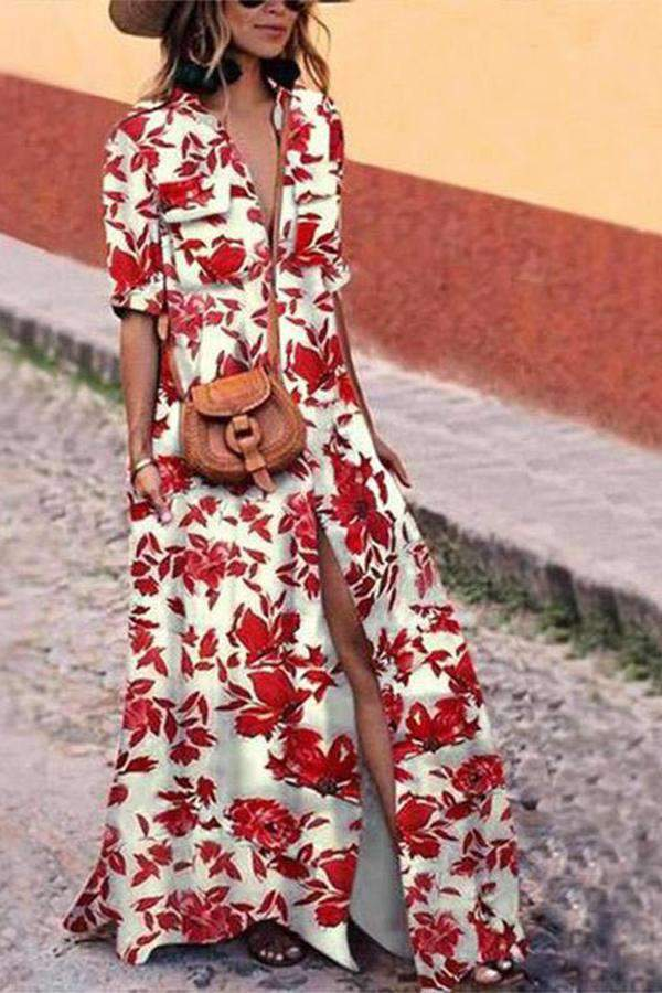 Shawl Collar White Swing Women Half Sleeve Floral Floral Dress
