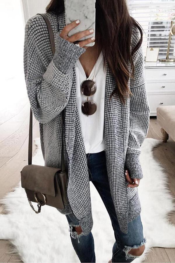Casual Plaid Long Sleeves Coat