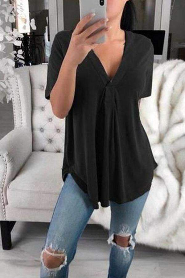 Sexy Solid Color V-Neck Loose Short Sleeves Shirt