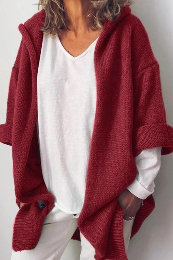 Casual Solid Knitted Hoodie Cardigan
