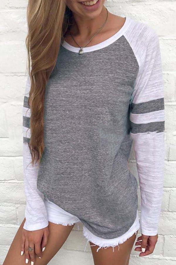 Color Block Long Sleeves Casual T-shirt