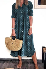 Casual Wave Point Button Short Sleeves Maxi Dress