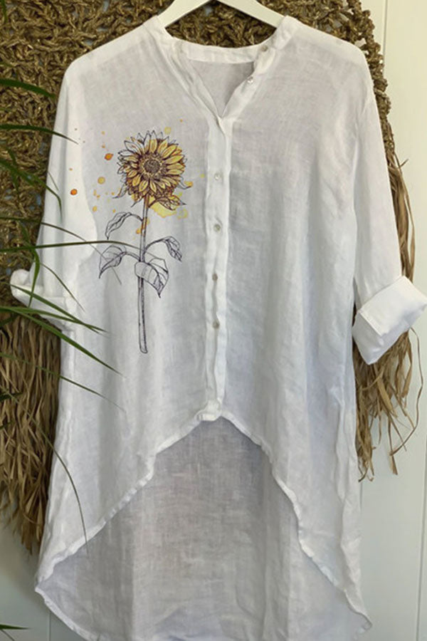 Sunflower Print Paneled Buttons Down High Low Casual Blouse
