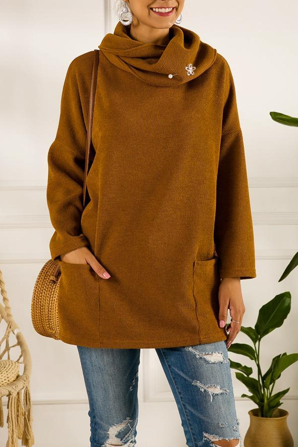 Solid Ribbed Pile Neck Pockets Casual Sweater