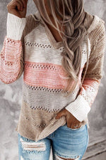 Color-block Striped Knitted Hollow Out Paneled Casual Hoodie