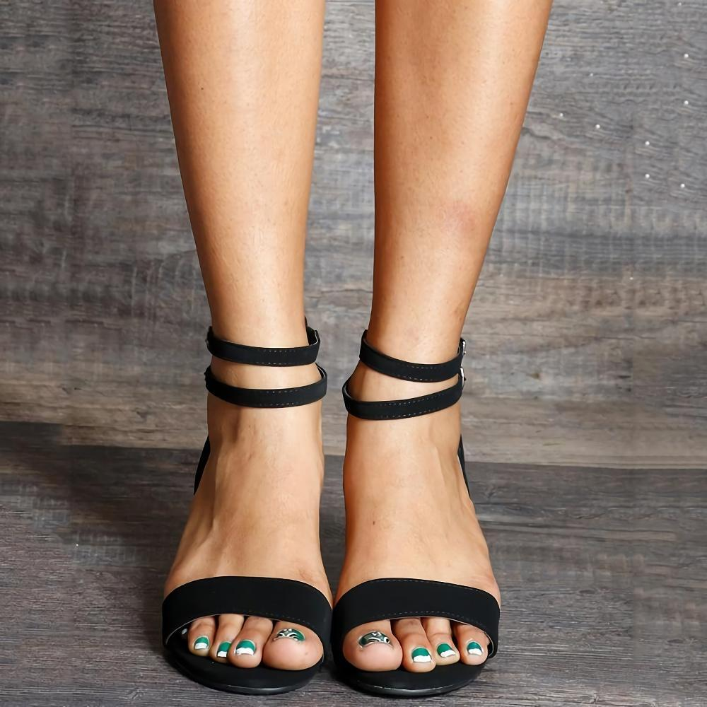 Ankle Strap Buckle Open Wedge Sandals