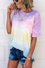 Gradient Casual Round Neck Short Sleeves T Shirt