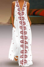 Casual V Neck Sleeveless Floral Print Maxi Dress